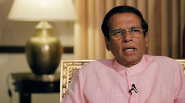Sri Lanka's President Maithripala Sirisena speaks during an interview with Reuters at his residence in Colombo