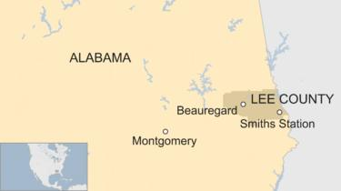 Map of Lee County, Alabama