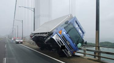 Truck blown over on the Seto Ohashi bridge in Sakade