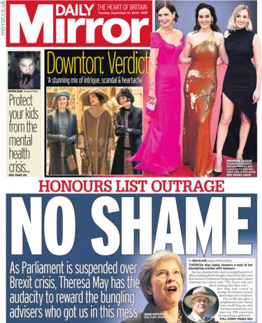 Daily Mirror front page Tuesday 10 September 2019