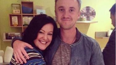 Victoria Maclean with actor Tom Felton