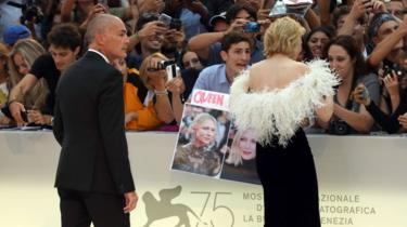 Cate Blanchett and her bodyguard Agostino Spinella (L) on the red carpet ahead of the 'A Star Is Born' screening during the 75th Venice Film Festival at Sala Grande on August 31, 2018