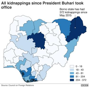 Map of kidnappings in Nigeria since 2015