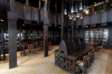 Undated handout photo of a full-size model of a section of the fire-gutted Mackintosh Library, which has been unveiled as work continues to restore the building to its original 1910 design.