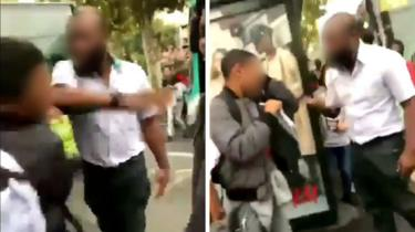 Screen shots from social media video showing slap and words spoken afterwards