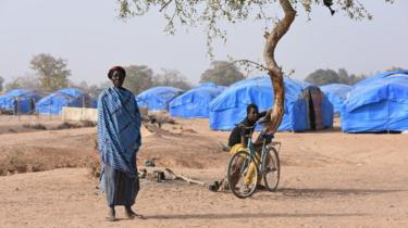 Displaced people are seen in the camp build by the German NGO Help in Pissila, Burkina Faso