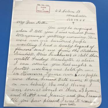 Annie Kenney's letter