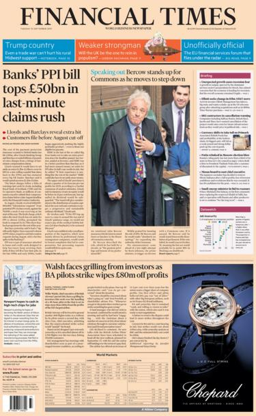 FT front page Tuesday 10 September 2019