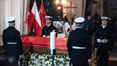 The coffin of Pawel Adamowicz, Gdansk mayor who died after being stabbed at a charity event, is seen at St Mary's Basilica in Gdansk, 18 January 2019