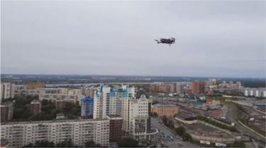 A drone released by Russian activist