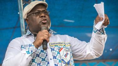 Felix Tshisekedi akiwa katika mkutano wa kisiasa April 24, 2018