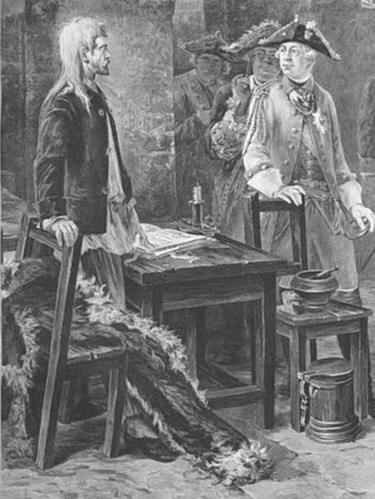 Петр III посещает Иоанна VI в камере Шлиссельбургской крепости (рисунок художника XIX века Федора Бурова)