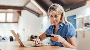 Woman using card online