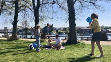A family playing by the river in Marlow, Buckingham