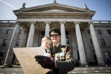 Captain Paul Conlon and his son Seanan outside the GPO in Dublin