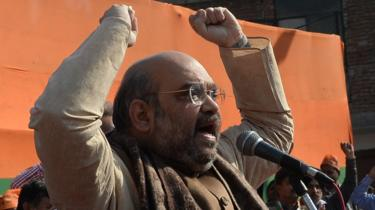 BJP President Amit Shah during a rally in New Delhi.