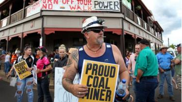 Pro-mining protest in Clermont, Australia