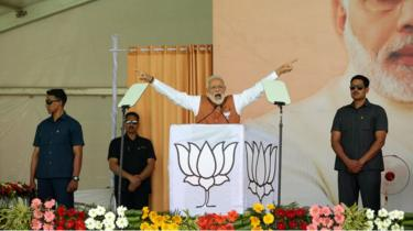 Modi at a rally in Meerut