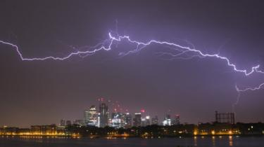 Lightning above Canary Wharf