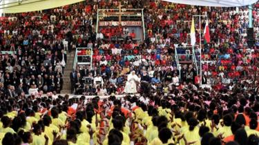 Pope Francis pictured at an open-air Mass in Madagascar
