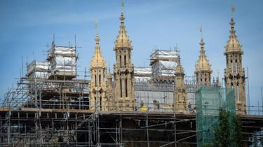 Scaffolding on the Houses of Parliament during building repairs