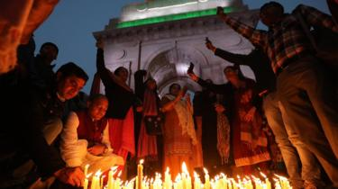 Indian mourners in Delhi
