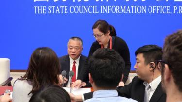 Liu Yuejin addresses a news conference on fentanyl-related substances control, in Beijing, China April, 1, 2019