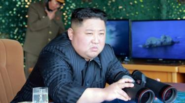 North Korean leader Kim Jong-un observing missile tests, 4 May 2019