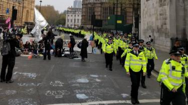 Police at Parliament square