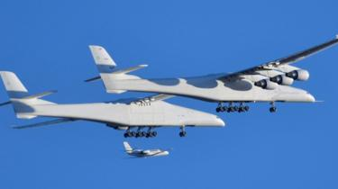 Stratolaunch, the world's largest plane, takes its maiden flight over California, April 2019