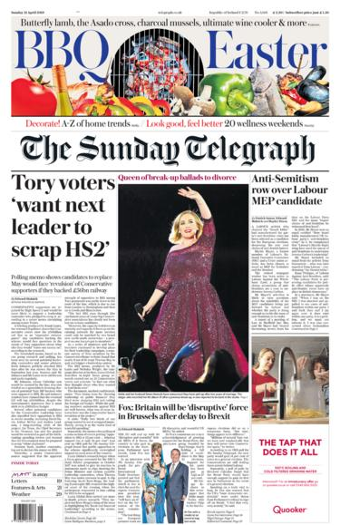 Sunday Telegraph front page 21/04/19