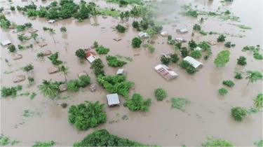 An aerial shot of an area around Beira under water in Mozambique following Cyclone Idai