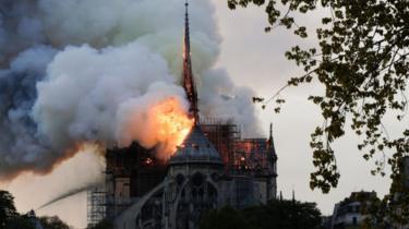 Scene of blaze in Paris