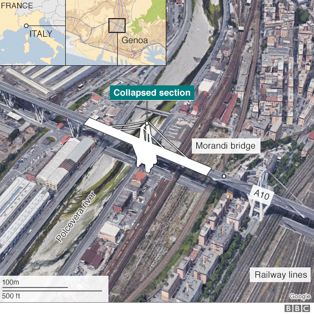 Map of bridge collapse in Genoa