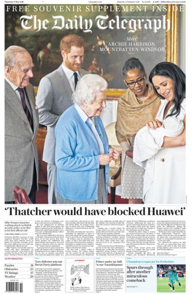 Telegraph front page 09/05/19