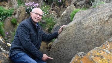 Michel Paugam with rock inscription, 7 May 19
