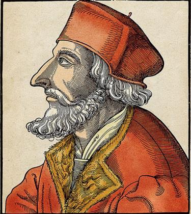 Jan Hus (1369-1415) era un reformador de la iglesia y seguidor de John Wycliffe. Adem�s fue un defensor de la Independencia de Bohemia y por lo tanto contra el Imperio de Alemania. Grabado coloreado, Alemania siglo XVI.