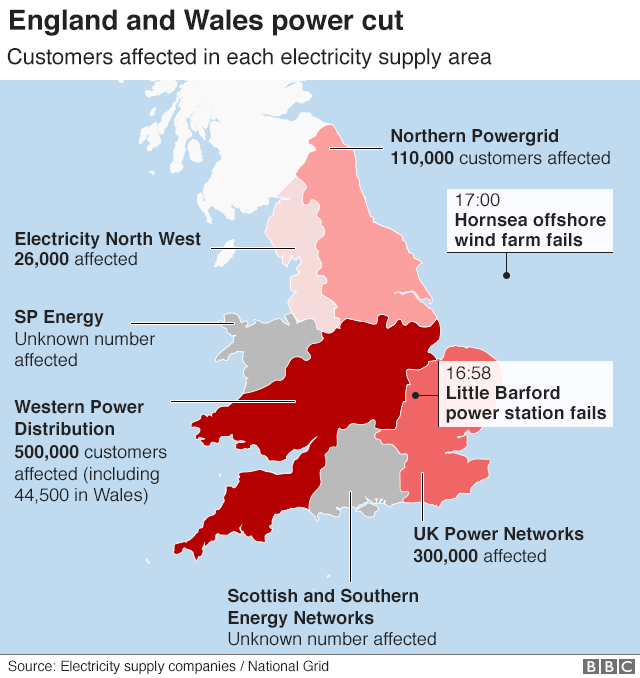 Map of areas affected by power cut