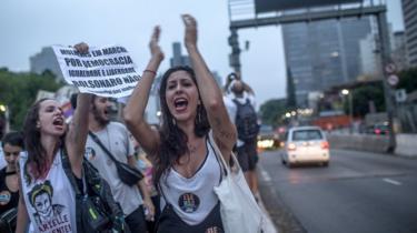 Women protest against Jair Bolsonaro in Sao Paolo, 29 September 2018