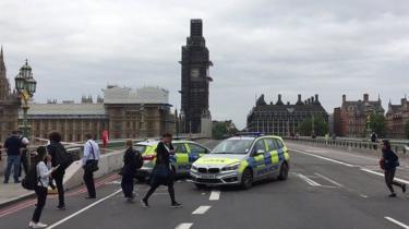 Westminster Bridge sealed off after crash