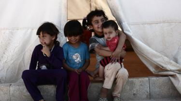 Children at a camp for the displaced in the rebel-held Syrian province of Idlib on 2 September 2018