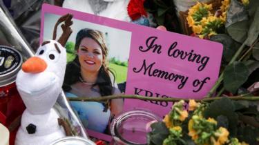 A photograph of Kristen Beaton at a memorial in Debert