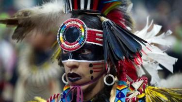 Navajo Native American in ceremonial clothes