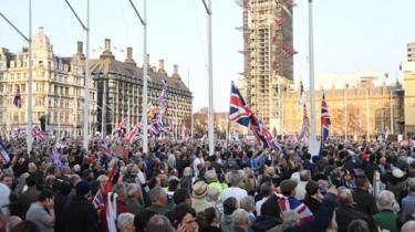 Brexit supporters rally outside the Parliament in London, Britai