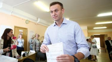 Russian opposition leader Alexei Navalny votes in local elections in Moscow on 8 September