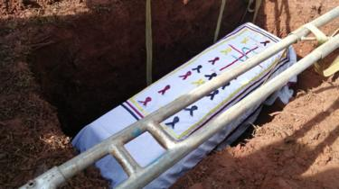 Coffin being lowered into the ground