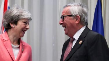 Theresa May also met Jean-Claude Juncker
