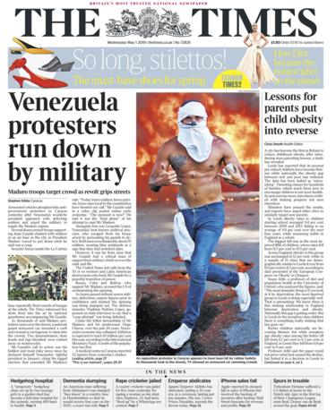 Times front page - 01/05/19