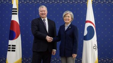 US envoy Stephen Biegun and South Korean Foreign Minister Kang Kyung-wha, Seoul, 9 February 2019
