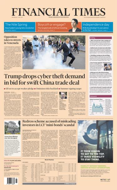 Financial Times front page - 01/05/19